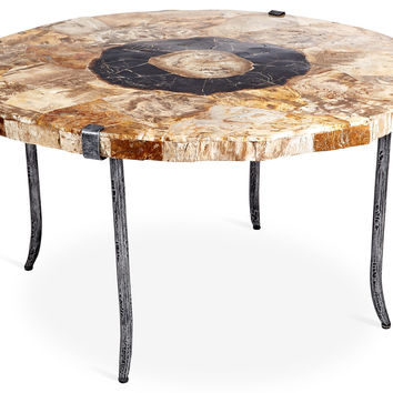 """Artistica, Petrified-Wood 36"""" Round Cocktail Table, Coffee Table Base, Sofa Table"""