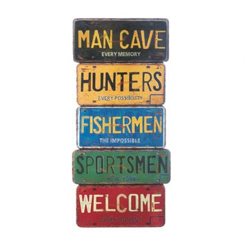Wall Decor Cave Man Metal Tin Sign Garage Signs Home Vintage Art Cut New Poster