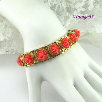 Vintage Celluloid Rose Bracelet Retro
