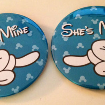 He's Mine and She's Mine Mickey Hand Buttons