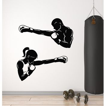 Vinyl Wall Decal Boxing Gym Martial Arts Girl Man Sport Motivation Stickers Mural (g2531)