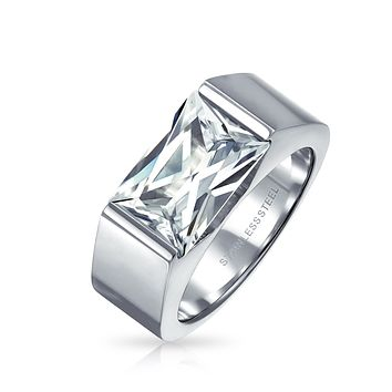 4CT Square Emerald Cut CZ Mens Engagement Ring Stainless Steel