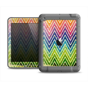 The Grunge Vibrant Green and Neon Chevron Pattern Apple iPad Air LifeProof Fre Case Skin Set