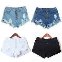 High Waist Ripped Jeans Shorts