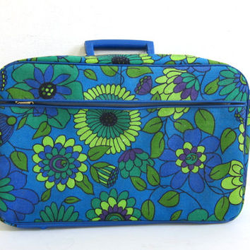 vintage 1960s mod floral canvas travel suitcase / blue and green fabric tote