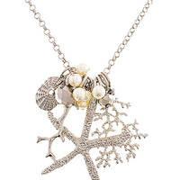 Sealife Clustered Shell Charm Necklace