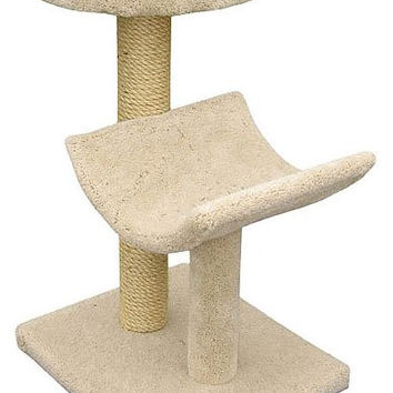 "Two  Level Cat House -Cradle & Perch - Cream (Cream) (37""H x 26""W x 20""D)"