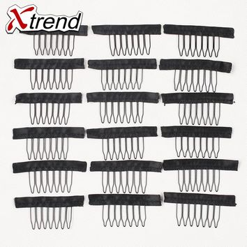 7Teeth wig combs Black Color Strong Stainless Steel Wig Combs And Clip For Full Lace Wig Cap Xtrend Wig Accessories Weave Clips