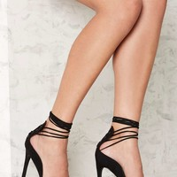 Nasty Gal Easily Suede Lace-Up Heel - Black
