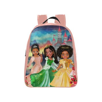 Backpack For Girls With Brown Princesses -Preschool,Toddler Backpack (Medium)