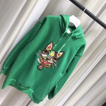 Gucci Fashion dog Embroidered Sweatshirt Pullover Hoodie