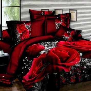 New Design 3D Bedding Set Red Rose Printed Bedding Bedspread Bedclothes Duvet Cover Set Queen King 3pcs (NO Comforters NO Pillow