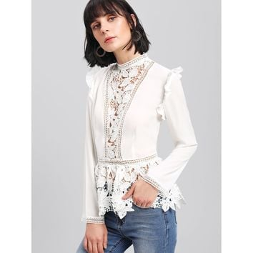 Frilled Shoulder Lace Insert Peplum Top White