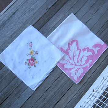 Yummy Pink Applique Hankie + Embroidered Hankie - Small Flower Vintage Hankie - Pink and White Hankie - '50s Wedding Hankies; Gift Hankies