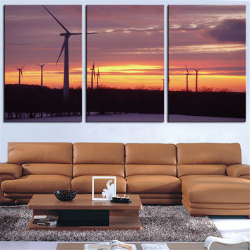 NO FRAME 3pcs Bliss windpark sunset Printed Oil Painting On Canvas wall Painting for Home Decor Wall picture