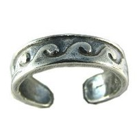 Hawaiian Ocean Waves Sterling Silver Toe Ring