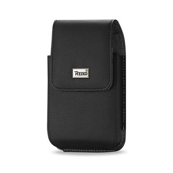 Reiko REIKO VERTICAL LEATHER POUCH IPHONE6/6S PLUS IN BLACK WITH MEGNETIC AND METAL BELT CLIP (6.62X3.46X0.68 INCHES PLUS)