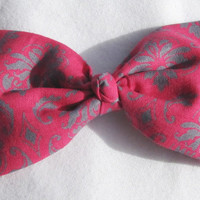Pink And Grey DEMASK Bow Tie Hair Clip