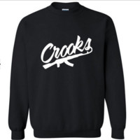 Crooks castles new fashion tide street skateboard street dance round neck turtleneck sweater