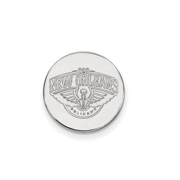 NBA New Orleans Pelicans Lapel Pin in 14k White Gold