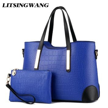 LITSINGWANG Women Fashion Shoulder Bags Ladies Vintage Totes Alligator PU Leather Handbags Zipper Picture Package Big Messenger