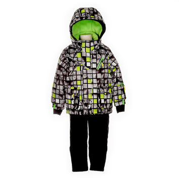 Deux Par Deux Snowsuit Boys SnowCube Print Style 2-piece and Neck Warmer Anthracite