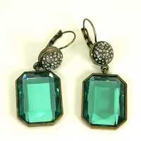 Large Green Rhinestone Dangling Pierced Earrings