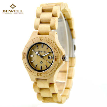 BEWELL Wood Watch Women Top Brand Luxury Lightweight Waterproof Wooden Women Wrist Watch Ladies Quartz-Watch Relojes Mujer