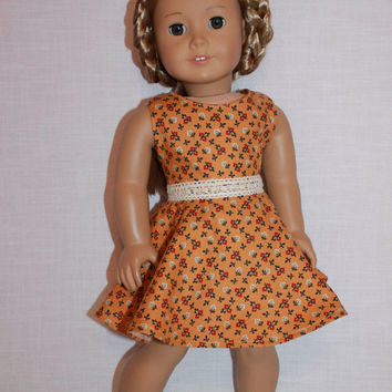 18 inch doll clothes, floral print dress with skater/circle style skirt and belt, upbeat petites