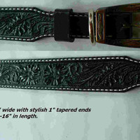 Black Medium Tooled Leather Dog Collar