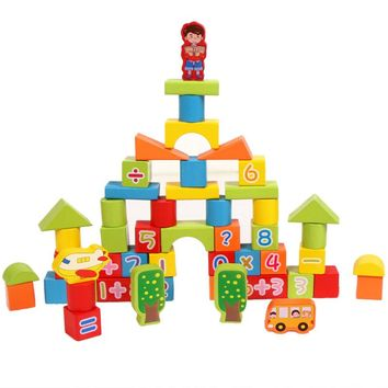 53pcs/Barrel Solid Wood Blocks Baby Wooden Early Education Toy Colorful Wooden Rectangle Building Model Kit Children Juguetes
