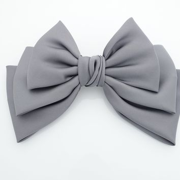 Satin big bow french barrette Women solid color hair bow accessory