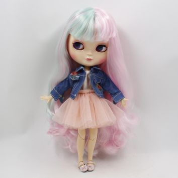 Fortune Days ICY Doll 1/6 Clothes Cute yarn skirt denim jacket two colors wild for Neo blyth icy doll 30cm toys