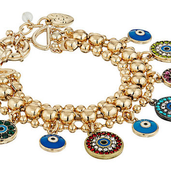 Betsey Johnson Mixed Eye Charm Multi Row Bracelet at Zappos.com