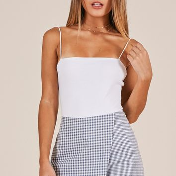 Call It Even skort in navy gingham Produced By SHOWPO