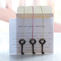 Unlock Your Destiny Necklace, Make A Wish, Key To Success Necklace, Silk thread necklace