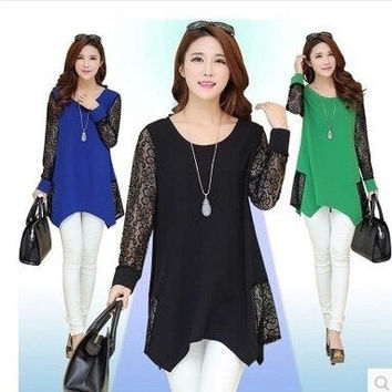 Women's Fashion Plus Size Womens Long Sleeve Casual Blouse Batwing Sleeve Lace Patchwork Loose T-Shirts Women Tops L-5XL = 1946086404