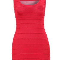 Red Sleeveless Round Neck Hollow Bodycon Dress - Sheinside.com