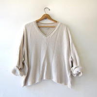 vintage light oatmeal sweater. oversized thermal shirt. textured cropped pullover. Boxy knit shirt.