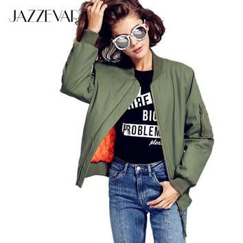 Trendy JAZZEVAR 2017 New Autumn Winter Fashion Street Bomber Jacket Cusual Quilted Cotton Green Women's Zipper Outerwear AT_94_13