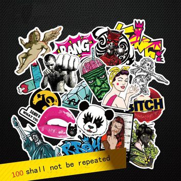 Fashion cool 50-100 pcs PVC stickers for Travel Suitcase Wall Pencil Box Bike Phone Sliding