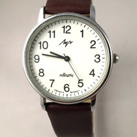 "Vintage Men's ""RAY"" (LUCH) wristwatch. Classic dial, round face, Quartz USSR watch. Gift for him"