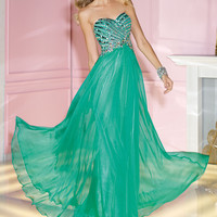 Alyce 2014 Electric Green Beaded Strapless Sweetheart Long A-Line Prom Dress 6193 | Promgirl.net
