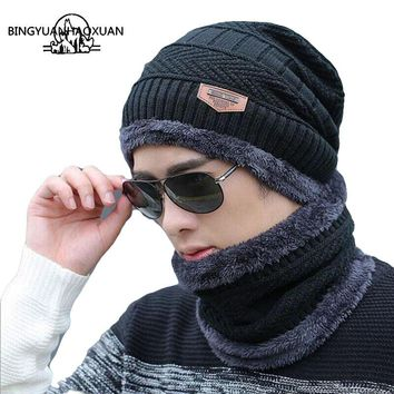 BINGYUANHAOXUAN Men Warm Hats Cap Scarf Winter Wool Hat Knitting for Men Caps Lady Beanie Knitted Hats Women's hats War