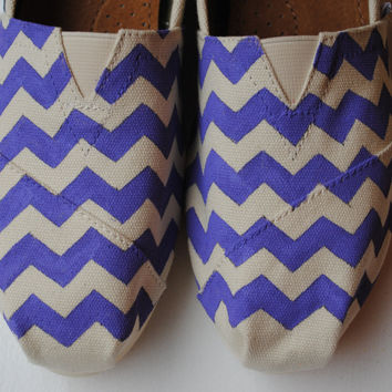 Custom Hand Painted TOMS Purple Chevron by PaperHeartsApparel