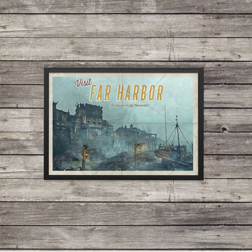 Fallout Poster | Far Harbor travel poster | Vintage travel poster | Videogame art
