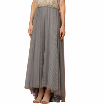Vintage High Low Tulle Skirt For Elegant Women Gray Color Zipper Style  2016 Ankle Length Tutu Skirt Pleat Women Clothing