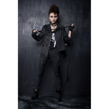 PUNK RAVE CASUAL NOVELTY GOTHIC FASHION WOMEN SKINNY PANTS K105 S-3XL