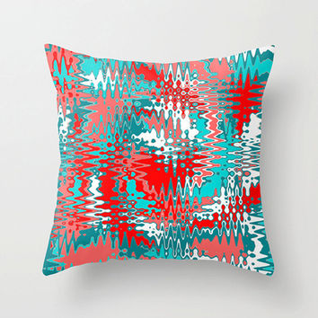 Mod Outdoor Pillow, Red Outdoor Cushion, Mod Outdoor Cushion, Red and Turquoise Outdoor Pillow, Modern Outdoor Pillow, Funky Outdoor Pillow