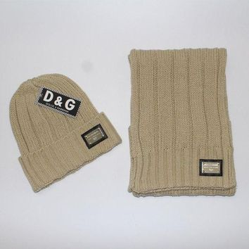 DCCKNQ2 D&G Woman Men Winter Knit Hat Cap Scarf Set Two-Piece